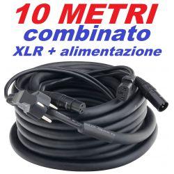 CAVO AUDIO COMBINATO IBRIDO SEGNALE ALIMENTAZIONE 10 MT XLR CANNON