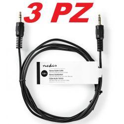 3 PZ. CAVO AUDIO AUX JACK 3,5 1,5 MT. stereo autoradio - smartphone - etc.