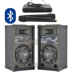 CASSE AMPLIFICATE KARAOKE 200W BLUETOOTH + 2 MICROFONI WIRELESS VHF