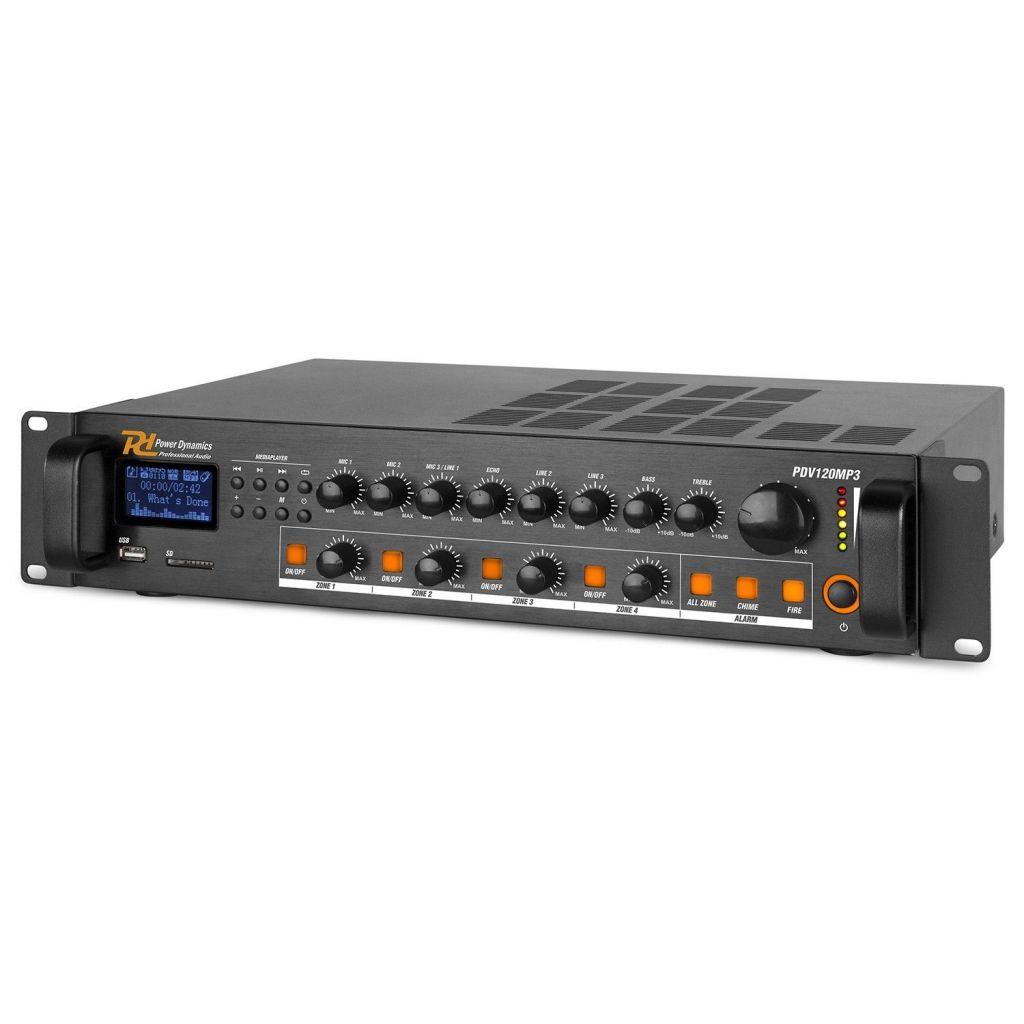 AMPLIFICATORE 100V 120W 4 ZONE LINEA BLUETOOTH FILODIFFUSIONE USB PDV120MP3