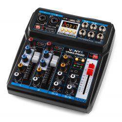 MIXER AUDIO PROFESSIONALE BLUETOOTH 4 CANALI USB DISPLAY CON EFFETTI DSP DJ KARAOKE