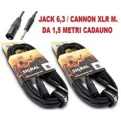 COPPIA CAVI JACK 6,3 MONO + CANNON XLR M. casse-mixer ART. CP176632 - 1