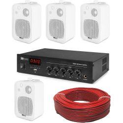 IMPIANTO AUDIO FILODIFFUSIONE PARETE 100V amplificatore BT+ 4 altoparlanti + cavo