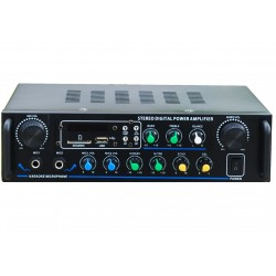 "AMPLIFICATORE KARAOKE 5 CANALI ""DELUXE"" STEREO 500W BLUETOOTH USB SD FM"