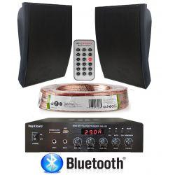 IMPIANTO AUDIO ATTIVO FILODIFFUSIONE ESTERNO LINEA 100V amplificatore BT + 2 altoparlanti + 50 mt. cavo