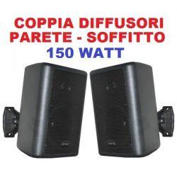 COPPIA DIFFUSORI DA PARETE CASSE MURO CON STAFFE 150W 75W X 2 nere - 3