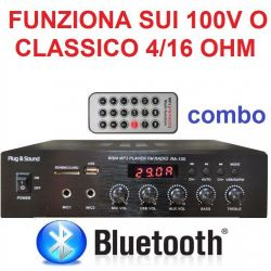 AMPLIFICATORE COMBO 100V / 4-16 OHM 400W BLUETOOTH + TELECOMANDO + DISPLAY + USB/SD - 1
