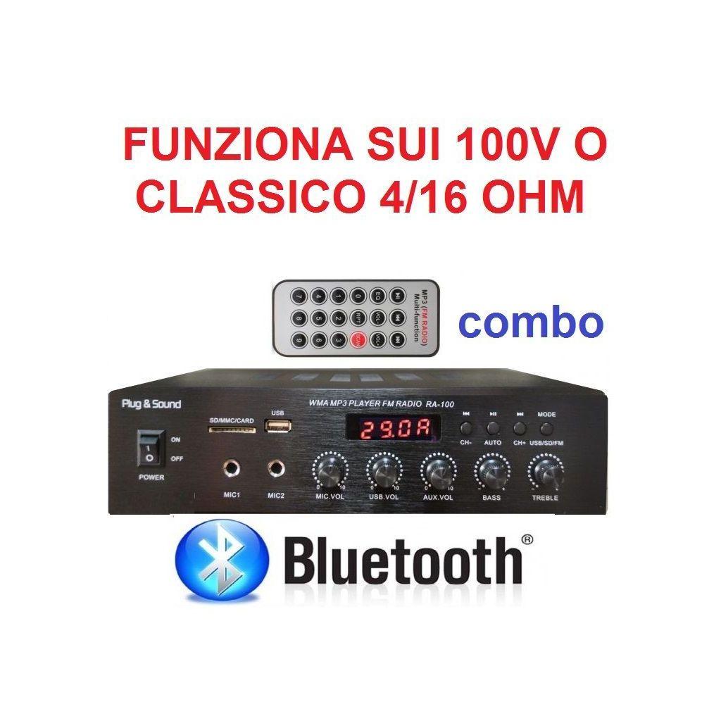 AMPLIFICATORE COMBO 100V / 4-16 OHM 400W BLUETOOTH + TELECOMANDO + DISPLAY + USB/SD - 1