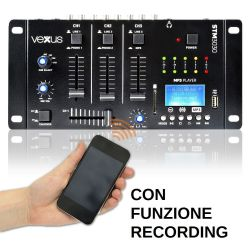 MIXER 3 CANALI CON BLUETOOTH + DISPLAY + USB/SD + FUNZIONE RECORDING MIX