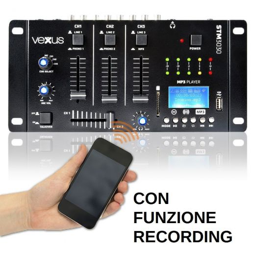 MIXER 3 CANALI CON BLUETOOTH + DISPLAY + USB/SD + FUNZIONE RECORDING MIX - 1