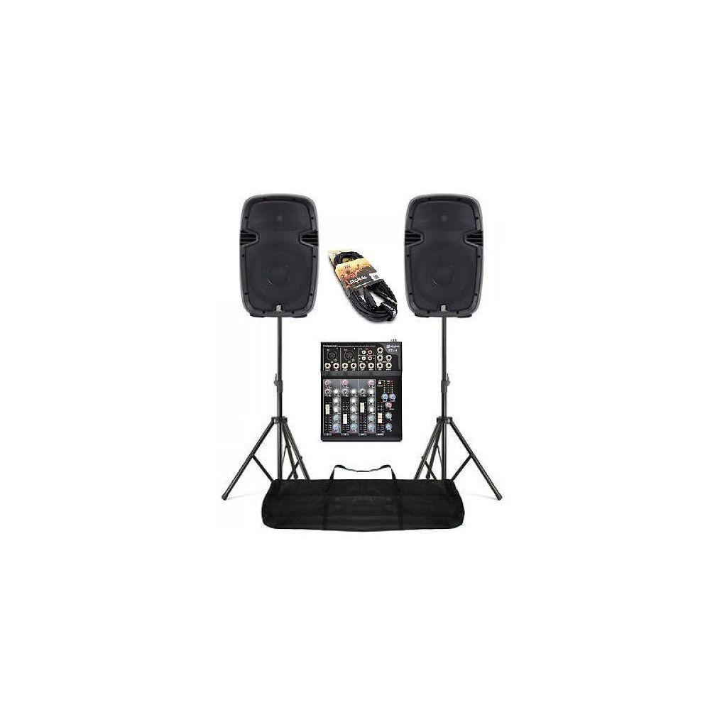 """IMPIANTO AUDIO AMPLIFICATO COMPLETO 2 casse abs 800w 10"""" + 1 mixer + 2 stativi con borsa + 2 cavi ART. SET178024MIX - 1"""