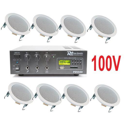 IMPIANTO AUDIO ATTIVO FILODIFFUSIONE 100V amplificatore + 8 altoparlanti incasso + matassa 100 mt. - 1