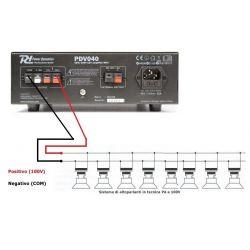 IMPIANTO AUDIO ATTIVO FILODIFFUSIONE 100V amplificatore + 8 altoparlanti incasso + matassa 100 mt. - 7