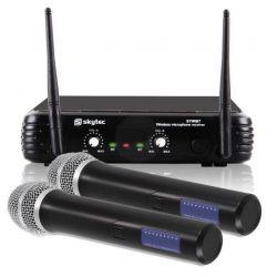 """COPPIA CASSE AMPLIFICATE ATTIVE 1200w 12"""" + 2 MICROFONI WIRELESS VHF + 2 STATIVI - 3"""
