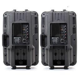 """COPPIA CASSE AMPLIFICATE ATTIVE 1200w 12"""" + 2 MICROFONI WIRELESS VHF + 2 STATIVI - 4"""