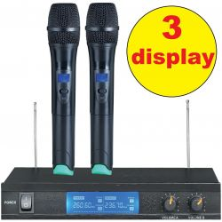 "COPPIA MICROFONI WIRELESS VHF ""PRO"" CON 3 DISPLAY BI-CANALE - 1"
