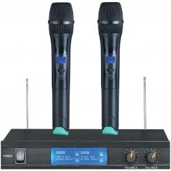"COPPIA MICROFONI WIRELESS VHF ""PRO"" CON 3 DISPLAY BI-CANALE"