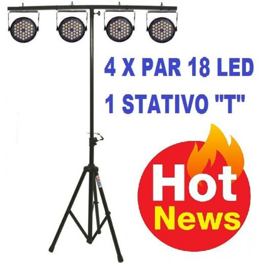 "Set di effetti luci discoteca teatro 4 par 18 led rgb DMX + stand a ""T"" - 1"
