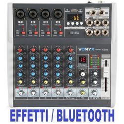 MIXER AUDIO 6 CH. KARAOKE DJ STUDIO CON EFFETTI FX BLUETOOTH USB DISPLAY
