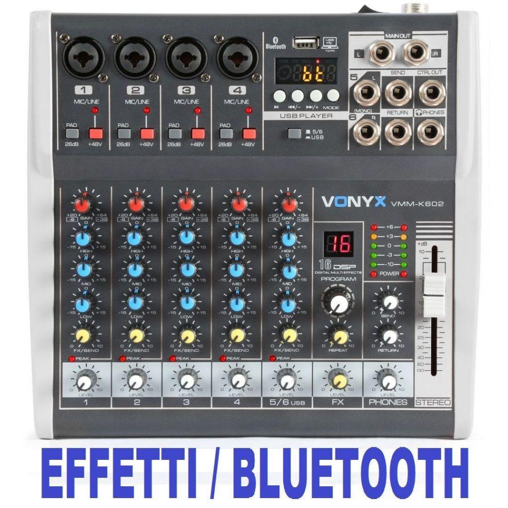 MIXER AUDIO 6 CH. KARAOKE DJ STUDIO CON EFFETTI FX BLUETOOTH USB DISPLAY - 1