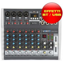 MIXER AUDIO 8 CH. KARAOKE DJ STUDIO CON EFFETTI FX BLUETOOTH USB DISPLAY - 1