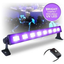 EFFETTO LUCE BARRA LED ULTRAVIOLETTI UV 8 X 3W alta luminosita' riflette il bianco