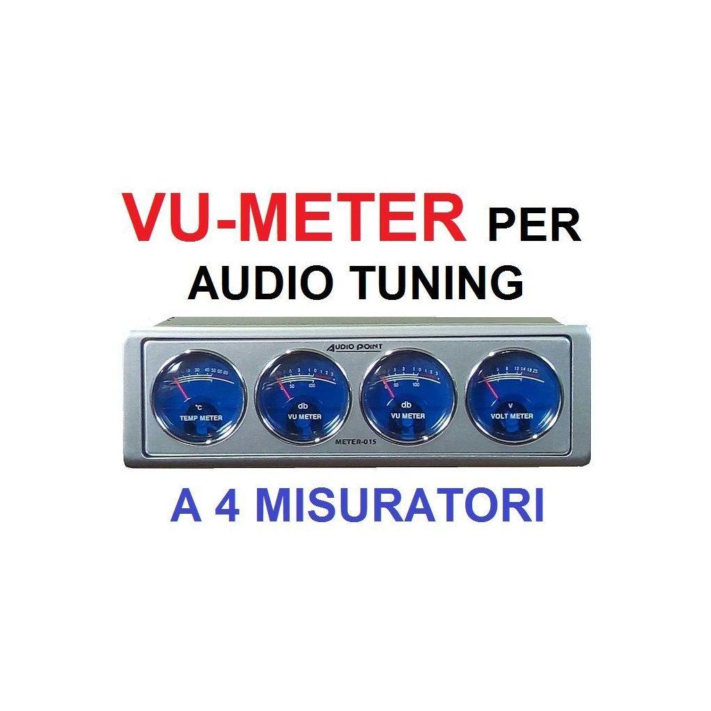 CAR METER MISURATORE AUTO TUNING AUDIO dB - VOLTMETRO - TEMP. AMPLIFICATORE 1 DIN - 1