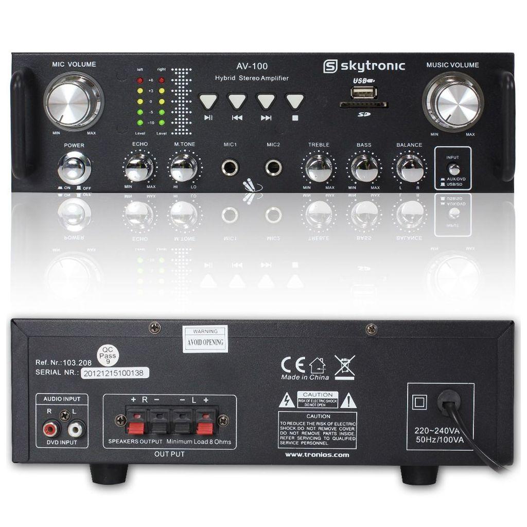 AMPLIFICATORE PER KARAOKE STEREO 2 CANALI USB SD 300 WATT MAX ART. 103208 - 1