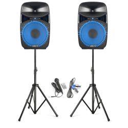 IMPIANTO AUDIO SISTEMA ATTIVO 800W casse amplificate + stativi + accessori - 3