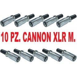 10 PZ. CONNETTORE A SALDARE CANNON XLR MASCHIO 3P BILANCIATO microfoni casse - 1