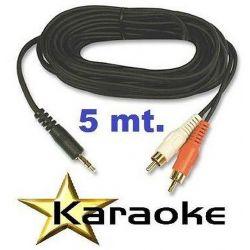 CAVO KARAOKE per COMPUTER-CASSE 5 MT JACK 3,5 MM 2 SPINE RCA - 1