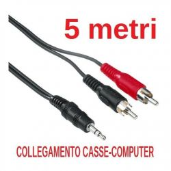 CAVO KARAOKE per COMPUTER-CASSE 5 MT JACK 3,5 MM 2 SPINE RCA