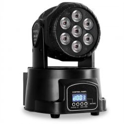 EFFETTO LUCE TESTA MOBILE 7 LED DA 10W MOVING HEAD WASH LUCI PSICHEDELICHE DJ DISCO PARTY