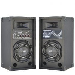 COPPIA CASSE AMPLIFICATE KARAOKE 200W LED + BLUETOOTH + USB art. MD-11 - 2
