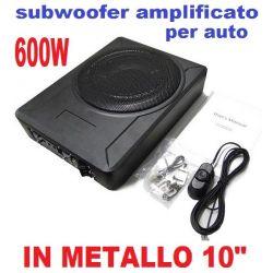 """SUBWOOFER AUTO AMPLIFICATO CAR METALLO 600W 10"""" SOTTOSEDILE SOTTO SEDILE COFANO - 1"""