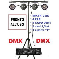 IMPIANTO LUCI COMPLETO DISCOTECA DJ DMX 4 fari + stativo + mixer + cavi