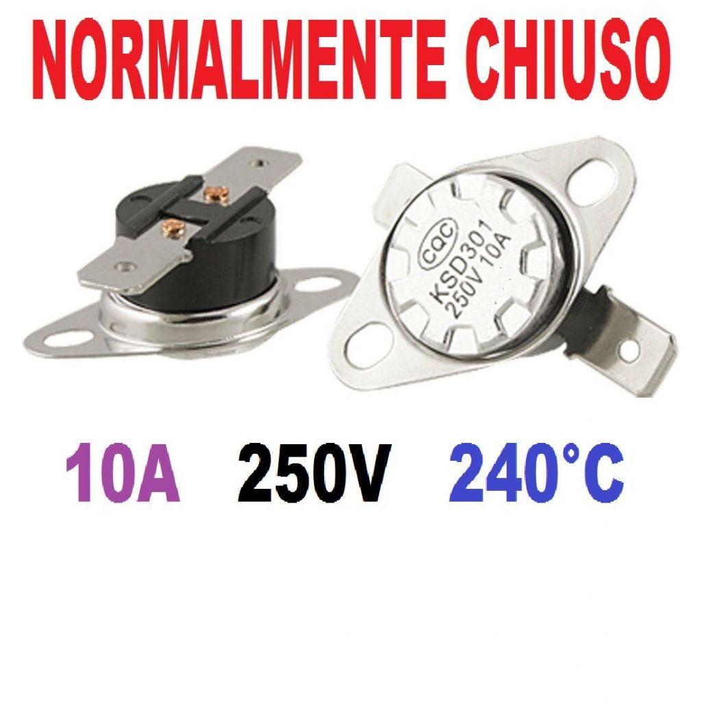 TERMOSTATO TERMICO UNIVERSALE MACCHINE FUMO NEBBIA 240° C 10A 250V KSD301 - 1