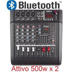 MIXER AUDIO AMPLIFICATO 1000W 5 canali CON EFFETTI FX DSP+ USB dj pianobar - 1