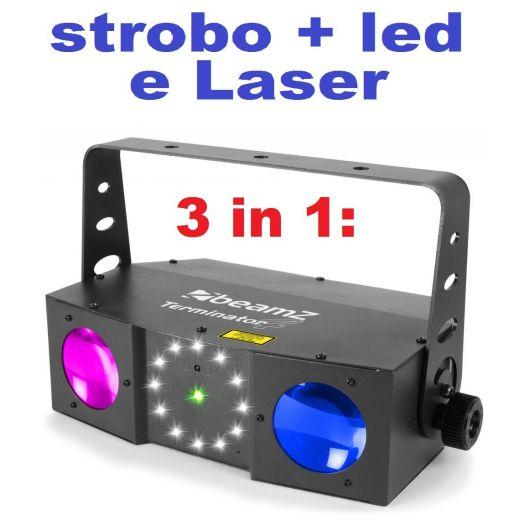 EFFETTO LUCI PSICHEDELICHE DMX DJ PALCO 3in1 strobo + laser + led RGBW - 1