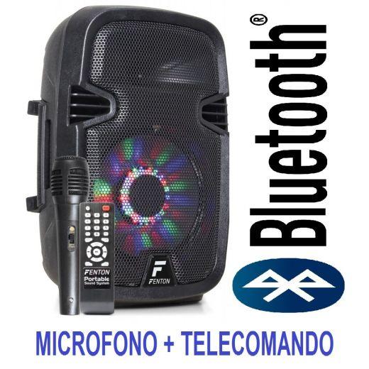 """CASSA ACUSTICA AMPLIFICATA ATTIVA 300W 8"""" BATTERIE BLUETOOTH MICROFONO USB/SD"""