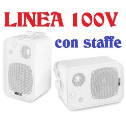 COPPIA DIFFUSORI PARETE MURO LINEA 100v CON STAFFE * VERSIONE BIANCA - 1