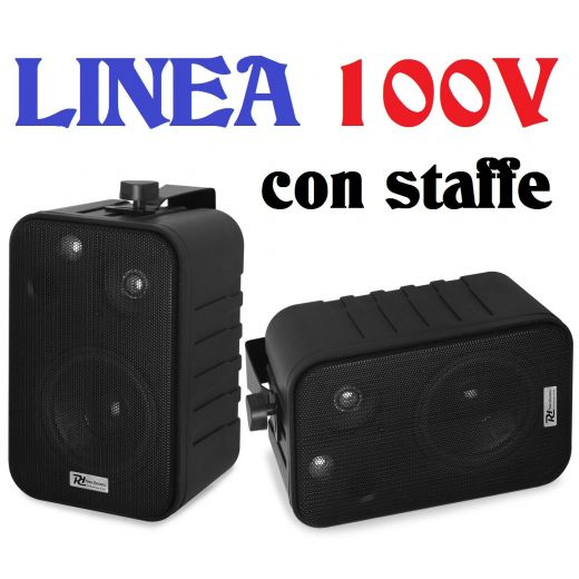 COPPIA DIFFUSORI PARETE MURO LINEA 100v CON STAFFE * VERSIONE NERA - 1