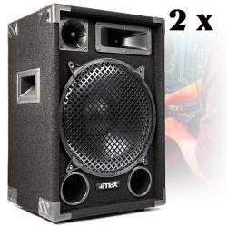 IMPIANTO AUDIO AMPLIFICATO 1400w: 2 casse + mixer attivo + stativi + 2 cavi - 3