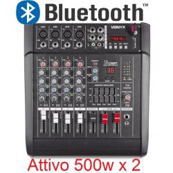 IMPIANTO AUDIO AMPLIFICATO 1400w: 2 casse + mixer attivo + stativi + 2 cavi - 5