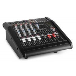 IMPIANTO AUDIO AMPLIFICATO 1400w: 2 casse + mixer attivo + stativi + 2 cavi - 9