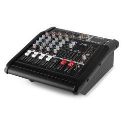 IMPIANTO AUDIO AMPLIFICATO 1400w: 2 casse + mixer attivo + stativi + 2 cavi - 10