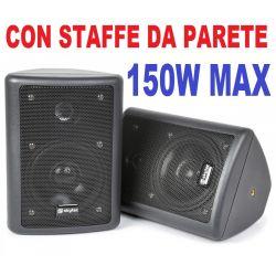 COPPIA DIFFUSORI DA PARETE CASSE MURO CON STAFFE 150W 75W X 2 nere