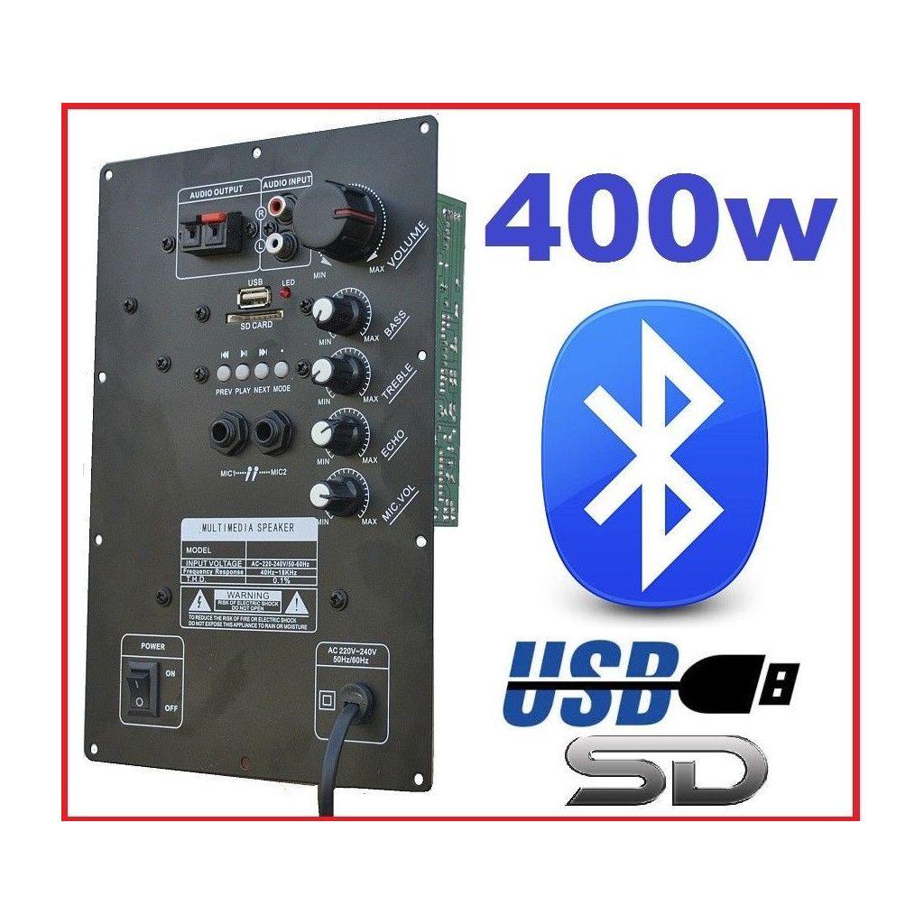 MODULO AMPLIFICATORE PANNELLO 400W RICAMBIO CASSE ACUSTICHE CON BLUETOOTH USB-SD-ECHO - 1