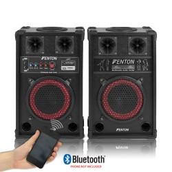 "COPPIA CASSE AMPLIFICATE ATTIVE KARAOKE 400W 8"" BLUETOOTH + USB/SD - 1"