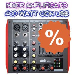 MIXER AMPLIFICATO ATTIVO 400W BLUETOOTH DJ LIVE EFFETTI + DISPLAY + USB + PHANTOM +48V